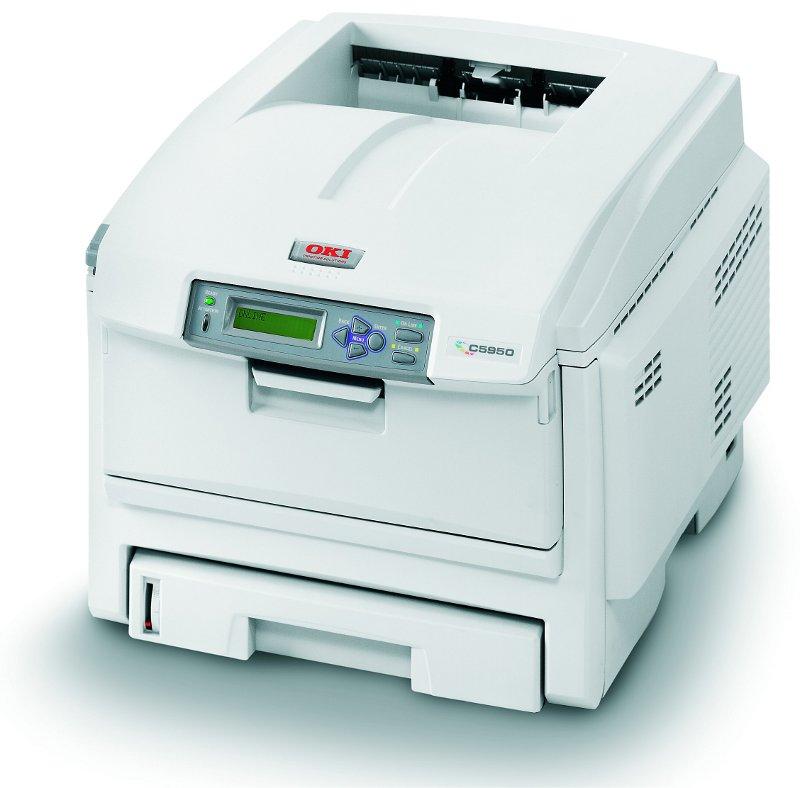 Oki c-5950 with 10/100 network interface digital colour laser printer.